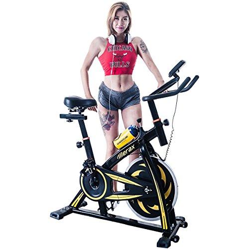 Merax Pro Fitness indoor Cycling Trainer Exercise Bike -30 lbs Flywheel (Black/Yellow) Merax