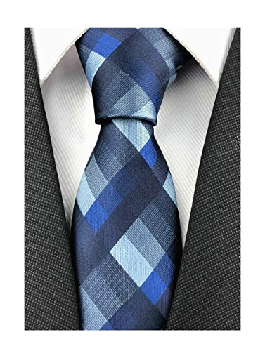 Blue Grey Black Check Party Ties Extra Long Elegant Banquet Formal Prom Skinny Necktie for Tall Men