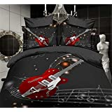 Ftudned?Guitar music symbol 3D Bedding Set Duvet Cover Queen Size , King