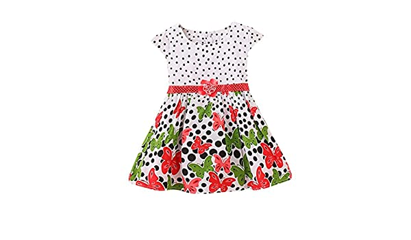 Amazon.com: ShiTou Girls Dress&&Girls Dot Butterfly Print Flower Casual Dress Clothes (Red, 3XL): Clothing