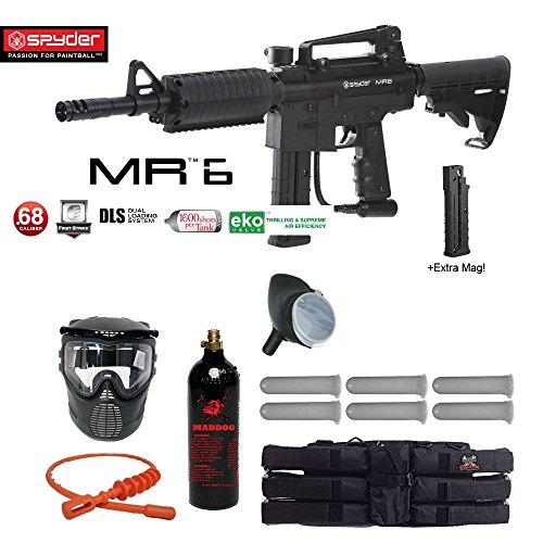 Spyder MR6 w/ DLS & Spare FS 9 Round Magazine Titanium Paintball Gun Package - Black by MAddog