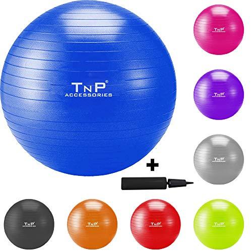 TnP Accessories. Gym Ball Anti Burst Swiss Ball 55cm Yoga Ball Fitness Ball with Hand Pump Home Gym Office Pregnancy…