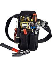 Copechilla gereedschapstassen elektricien professional en riemen, 23X13X5CM, 15 vakken, zwart, materiaal dubbellaagse verdikking 600D Oxford, heavy duty 10 KG, voor elektricien, technisch onderhoud