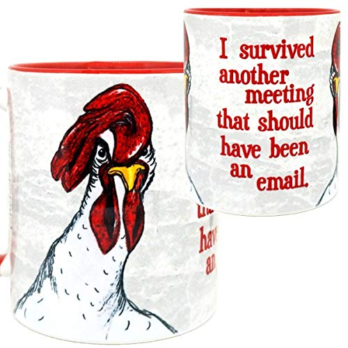 Chicken Meeting Red Mug by Pithitude - One Single 11oz Red Coffee (Red Rooster Chips)