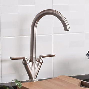 luxury brushed steel swivel spout kitchen tap modern sink monobloc faucet - Brushed Steel Kitchen Sinks