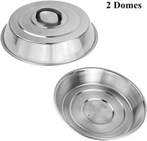 ZBXFCSH 2 Sets BBQ Accessories 12 Inch Round Stainless Steel Basting Cover - Cheese Melting Dome and Steaming Cover, Best for Blackstone Camp Chef Flat Top Griddle Grill Cooking Indoor or Outdoor