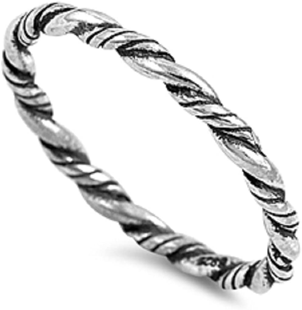 CloseoutWarehouse Sterling Silver Twisted Design Stackable Ring