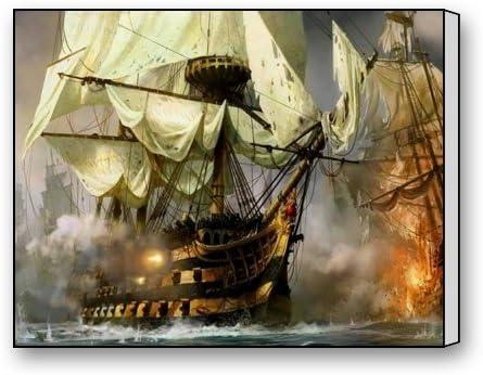Amazon.com: Creative Modern Art Giclee Canvas Wall Art - Ship Battle ...