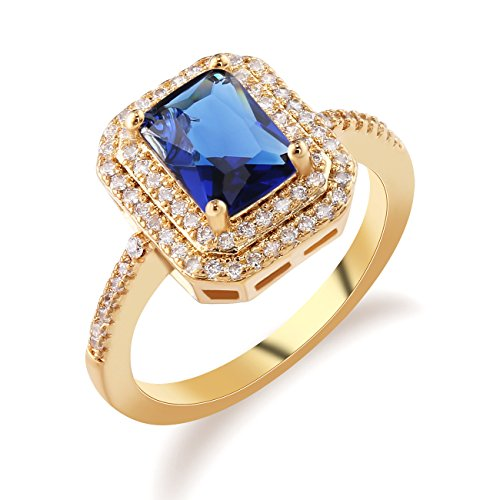 GULICX Square Red Cubic Zirconia Gold Tone Rings Sapphire-Color Blue