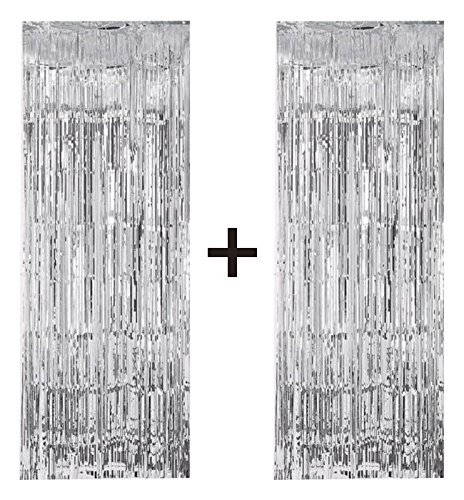 2 X Big/Large 3ft X 8ft Silver Fringe Foil Curtain Party Tassel (You
