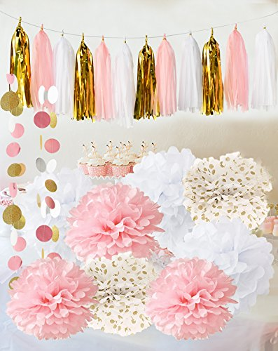 Qian's Party Baby Pink Gold White Baby Shower Decorations for Girl/Party Decorations First Birthday Decorations Tissue Paper Pom Pom Tassel Garland Circle Paper Garland Bridal Shower (Pink Ribbon Centerpiece)