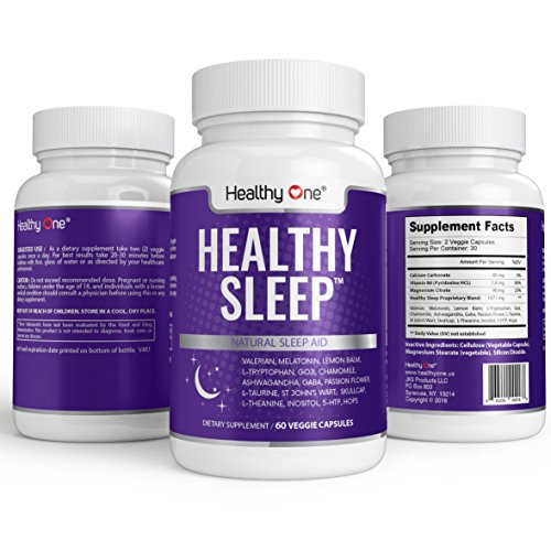 Healthy Sleep - Natural Sleep Aid with Melatonin, Valerian, Vitamin B6, L-Tryptophan, Chamomile, L-Taurine, St. John's Wort, GABA, Skullcap, L-Theanine and Ashwaganda and Inositol.