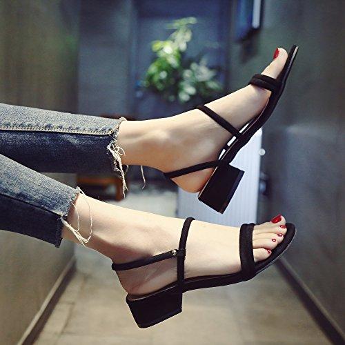 SHOESHAOGE Sandalias Zapatos De Mujer con Tacones Altos Zapatos De Mujer Áspera Estudiantes con Opuestas Dos,Eu34 EU38