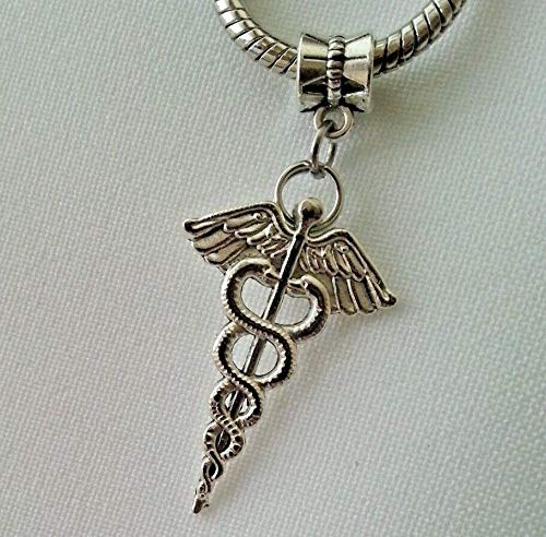 Pendant Jewelry Making Medical Caduceus Symbol Doctor Nurse RN MD Dangle Charm Bead European Bracelet ()