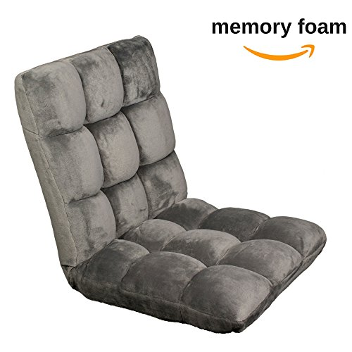 515eDc7sV6L - Memory foam sofa chair folds to floor | Video gaming floor folding sofa + office chair fully adjustable to 14 positions w/ ultra soft fabric | Memory foam lounger cushion legless recliner