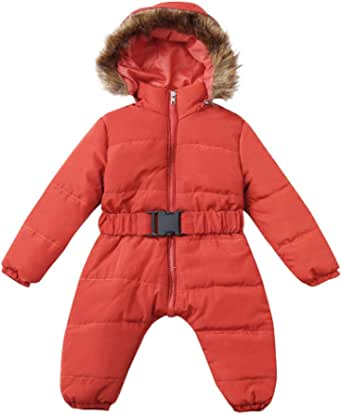 LHWY Mameluco de Plumas Ligero con Capucha Abrigo de Invierno para Niños Niñas Bebé Recien Nacido Acolchado Calentito Impermeable Manga Larga Jacket Chaqueta Cazadora Mono 3-24 Meses