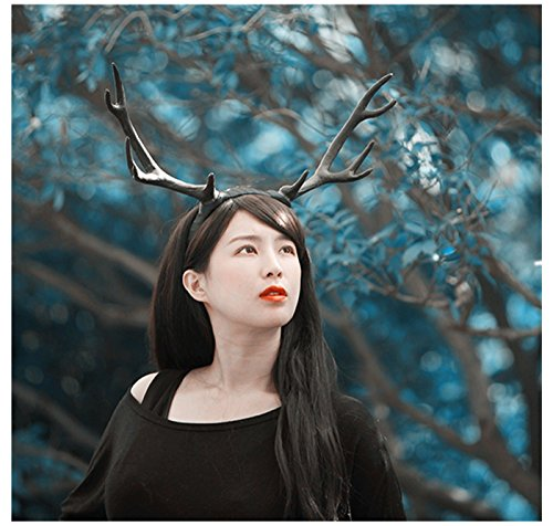 Christmas Cos Cute Black Deer Large Reindeer Antlers Band Photo Shoot Forest Goddess Headdress -