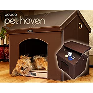 "Pet Haven - Brown - Indoor Dog House / Indoor Cat House with Memory Foam Dog Bed and Attic Storage (28"" Medium Dog)"