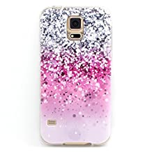 Galaxy S5 case, Let it be Free Pink Gray White Drops Pattern Clear Bumper TPU Soft Case Rubber Silicone Skin Cover for Samsung Galaxy S5 i9600 (Not for S5 Mini)