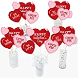 Big Dot of Happiness Conversation Hearts - Valentine's Day Party Centerpiece Sticks - Table Toppers - Set of 15