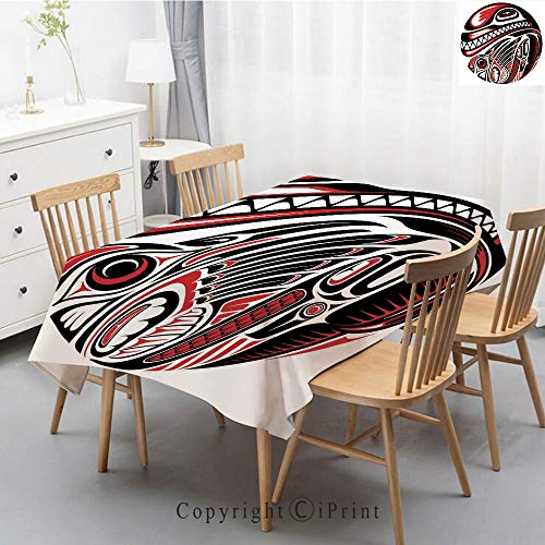 Print Series Rectangle Tablecloth Cotton and Linen Dust proof Absorption Table Cover for Photography Background Dining,47x63 Inch,Tribal,Haida Style Animal Art Wild Ethnic Eagle and Killer Dog with Sh ()