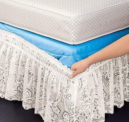 Lace Wrap Around Wrap - Queen/King White Lace Wrap-Around Bed Ruffle Fits Mattress Without Lifting, Ruffle Has Elastic Band That Slips Over Bed Without Moving Heavy Mattress Or Box Spring, Wrinkle-Free Poly Fabric