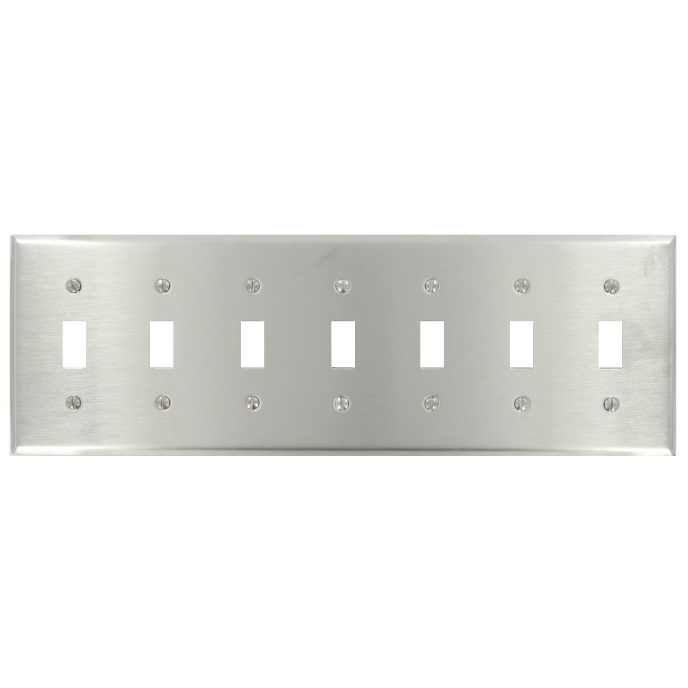 Leviton 84070-40 7- Gang Stainless Steel Metal Wallplate, Standard Size, Device Mount, Stainless Steel