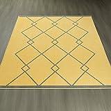 "Ottomanson Studio Collection Diamond Trellis Design Area Rug, 8'2″ X 9'10"", Yellow & Gray Review"
