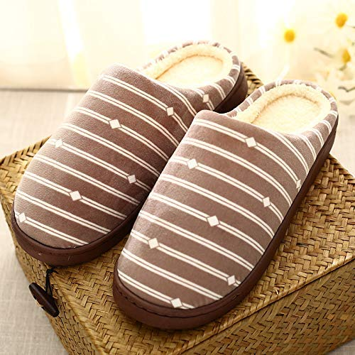 Color : Brown, Size : 2 Wanrane Indoor Cozy Warm Slippers Checkered Striped Side line Indoor Home Cotton Slippers Winter Couple Warm Cotton Slippers Cotton Shoes Home Cotton Shoes