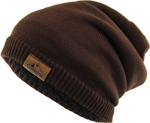 KBW-272 BRN Thick Oversized Slouch Beanie