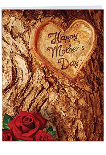 (Mother's Day Trunk - Happy Mothers Day Greeting Card with Envelope (8.5 x 11 Inch) - Tree Trunk Carving, Red Roses Stationery Gift for Moms - Big Notecard from Husband J3498MDG)