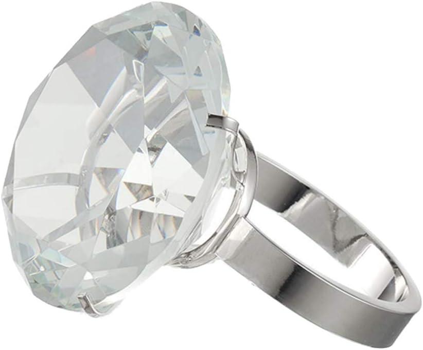 Healifty Anillo de Diamantes de Cristal Anillo de Diamantes Gigantes Prop Bachlorette Jumbo Anillo de Diamantes Accesorios de Fotos para Bodas favores de Fiesta de Compromiso 60mm