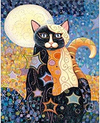 5D Full Diamond Painting Kit DIY Rhinestone Embroidery Full Drill Cross Stitch Arts Craft for Home Wall Decor Cat 30X40cm