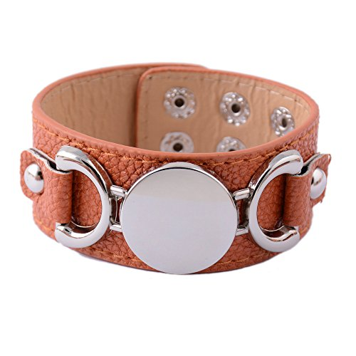 Monogram Leather (Rainbery PU Leather Cuff Bracelet for Monogram (Brown Silver))