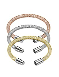 "7"" 18K Gold Plated Mesh Bangle Bracelet with Magnetic Clasps and High Quality Crystals by Matashi"