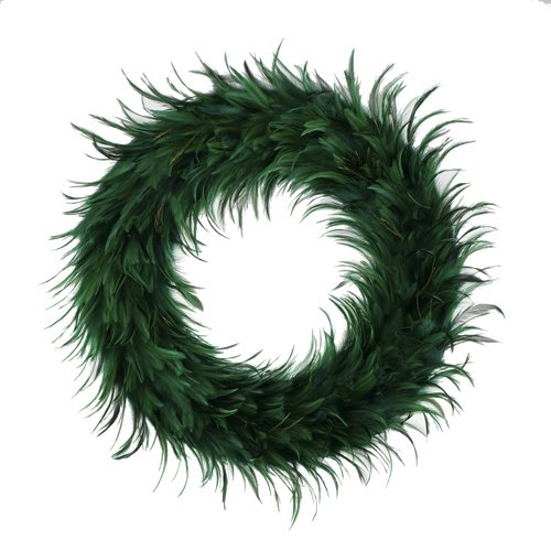 Hackle Peacock Feather Christmas Wreath - 24