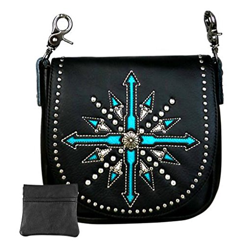 Handcrafted Leather Convertible Clutch Crossbody Handbag Biker Bag (Black Tooled Arrow w Charger)