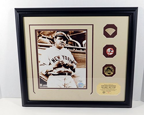 Highland Mint Babe Ruth Photo with Game Used Bat Pin and Coin Framed DA025361