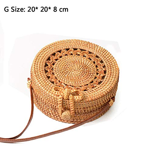 Kong Natural Straw - Zozu 2019 New Women Round Straw Handbag Female Summer Rattan Bag Handmade Shoulder Bags Lady Casual Beach Handbags Bali bolsas S1602 (G lou kong hua bian)