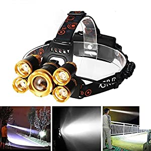 Headlamps, Super Bright 5 LED 8000 High Lumen Rechargeable Zoomable Waterproof Head Torch Headlight for Outdoor Hiking Camping Hunting Fishing Cycling Running Walking-IMPROVED LED Headlight