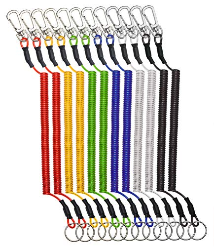 (Mini Skater 12Pcs Retractable Spring Cord Stretchy Elastic Safety Ropes Wire Plastic Lanyards Swipe Badge & Key Chain Ring Casino Card Clip Securing Tools, Random Color (Spiral Length: 4.5 inch))