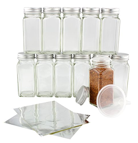 One Dozen 4-Ounce Glass Spice Jars with Shaker/Lift & Pour Inserts & Silver Labels & Silver Metal Lids (12-Pack); Square Bottles Perfect for Any Spice Rack ()