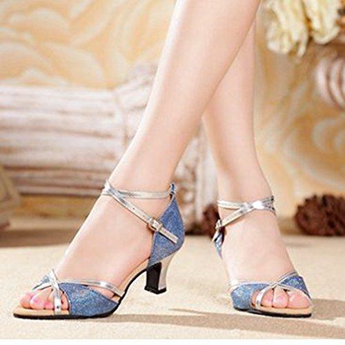 GIY Morden Adult Glitter Shoes Sandals Tango Blue silver Dancing Salsa Dance Outdoor Ballroom Heel Latin Women's rrzqfU