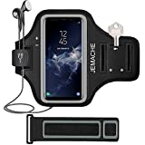 JEMACHE Galaxy S9/S8/S7 Edge Armband, Gym Run/Jog/Exercise Workout Arm Band for Samsung Galaxy S6/S7/S7 Edge/S8/S9 with Key/Card Holder (Black)