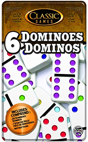 TCG Toys Double 6 Dominoes Game with Tin Case Double Six Dominoes Tin