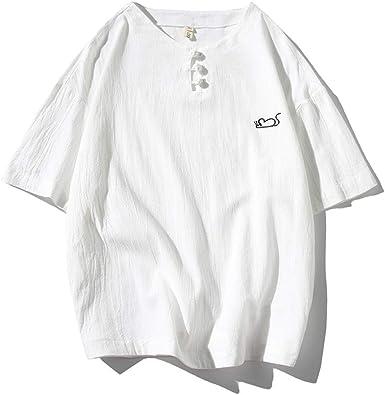 Camiseta japonesa de algodón y lino, tamaño grande, para hombre, verano, con bordado de ratón redondo, hebilla de estilo chino, de lino de manga corta: Amazon.es: Ropa y accesorios