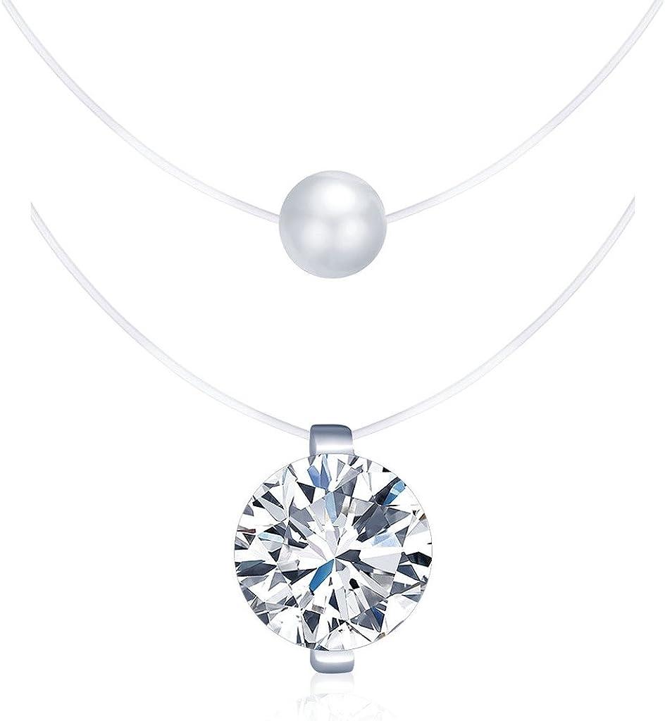 Collares Mujer Niña, Yumilok-2 Piezas, Juego de Collares Invisible Colgantes de Perla y de Diamantes, en Plata de Ley 925 Cadena con Colgantes