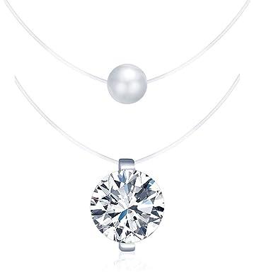 8d7fe70dae5a3 Yumilok pendentif collier fil magique pour femme fille en Argent véritable,  fil nylon transparent,