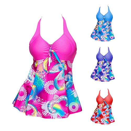 5XL Set Bikini Beachwear Blu due con con Stampa Prospettiva Da Bagno pezzi Boyshort Swimwear Donna Moda Costume Set S Tankini Junkai bagno multicolore da Costumi gonna wqx1USBvwA