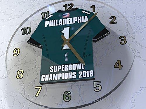 FanPlastic PHILADELPHIA EAGLES NFL - SUPERBOWL 52 CHAMPIONS COMMEMORATIVE WALL CLOCK - WORLD CHAMPIONS 2018 - HISTORY !!!!!!!! -